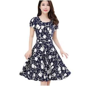 Vintage Dress Short-Sleeve Knee Retro Elegant Length Fashion Print O-Neck