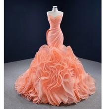 Pomarańczowe Mermaid Africa suknie balowe z falbanką spódnica suknia wieczorowa na przyjęcie czarna dziewczyna jasna długa sukienka na specjalną okazję tanie tanio AOLANES Boat neck CN (pochodzenie) Bez rękawów Pociąg sweep Długość podłogi Prom dresses REGULAR Tulle NONE simple