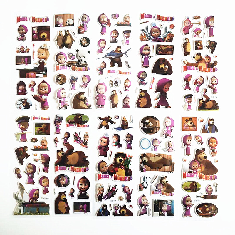 6 Sheets 3D Cartoon Puffy Bubble Masha And Bear Stickers Mixed Waterpoof DIY Children Kids Boy Girl Toy