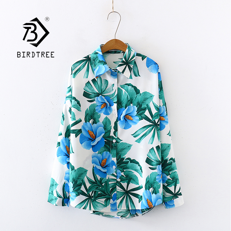 2020 Summer New Women Leaf Floral Print Chiffon Blouse Autumn Long Sleeve White Shirt Vintage Loose Tops Casual Wear Blusa T0322