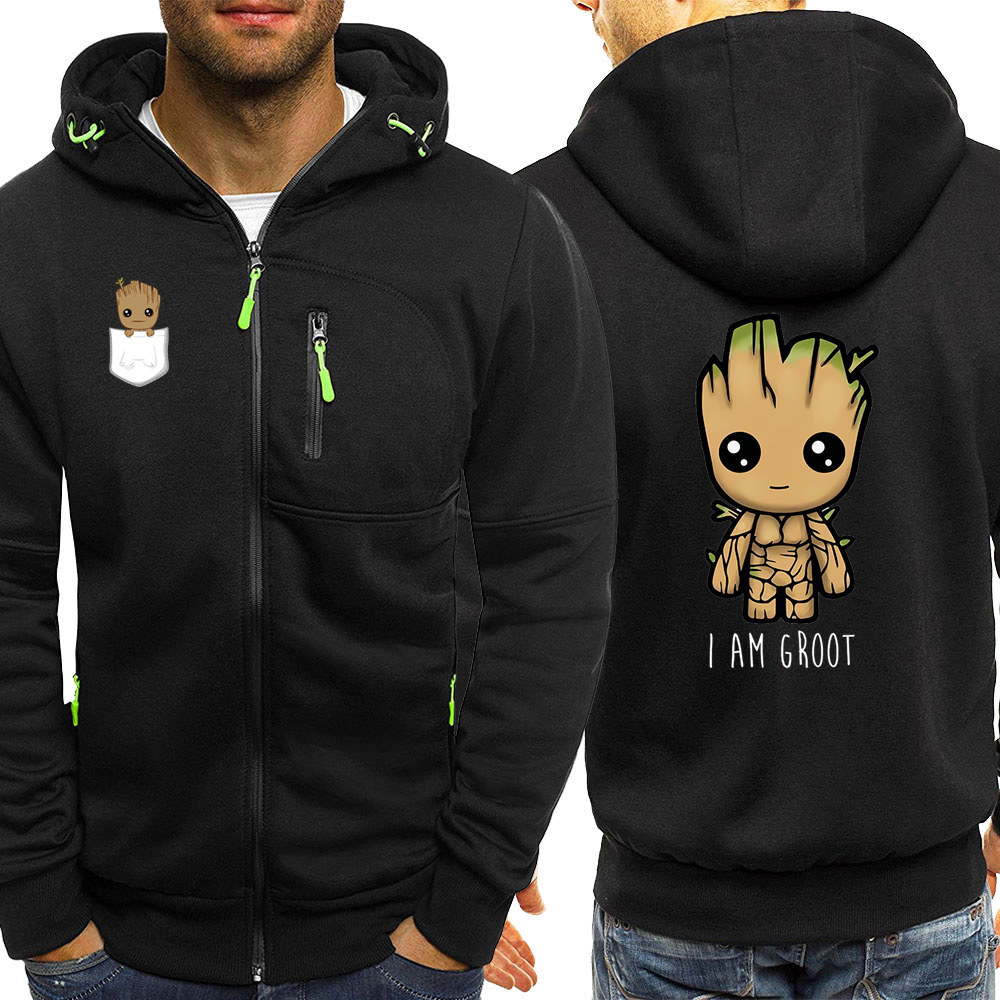 Hooded Mens Sportswear Autumn Hot Sale I Am Groot Guardians Of The Galaxy Print Casual Jacket Zipper Hoodie Male Coat Sweatshirt