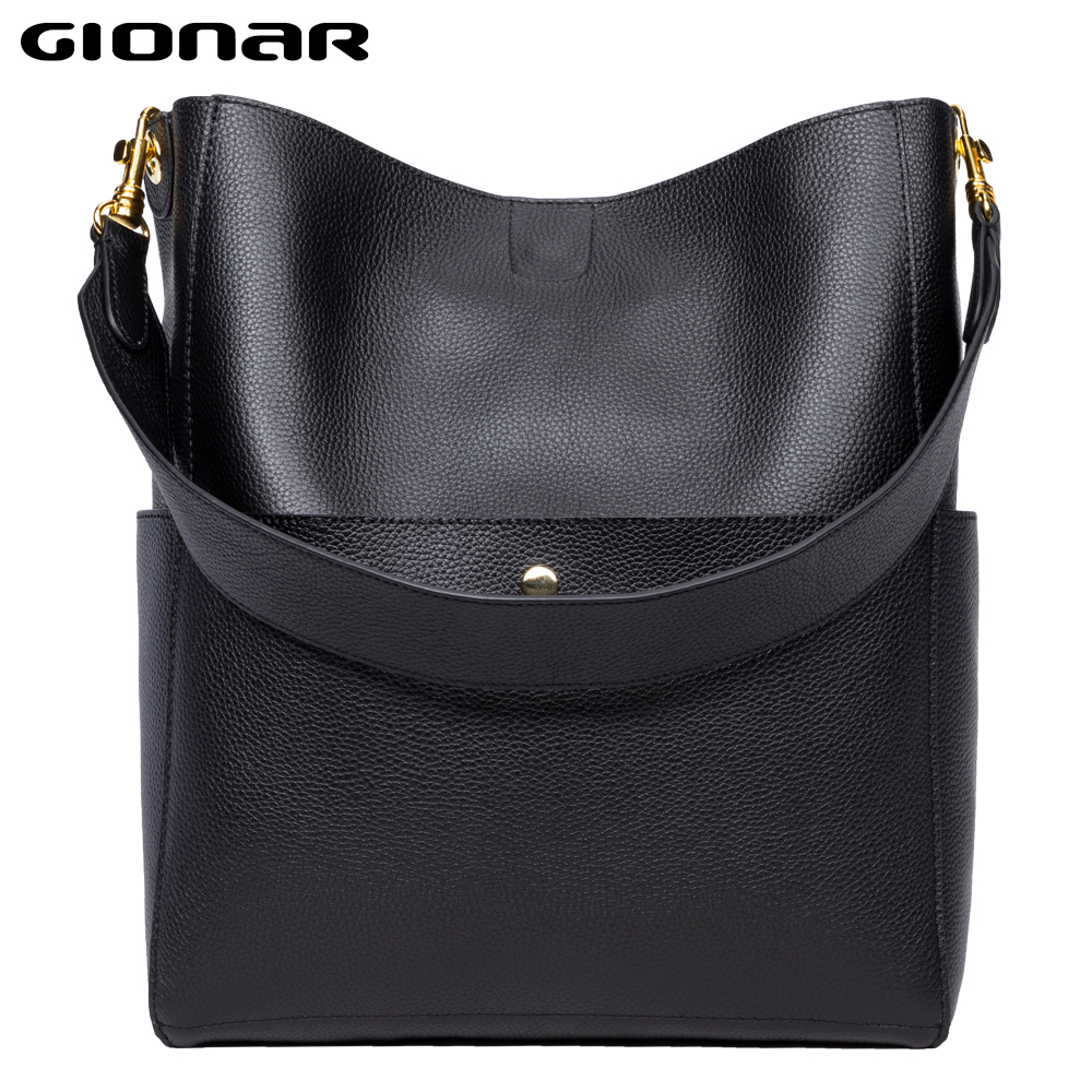 GIONAR RFID Designer Top Layer Cow Leather Bucket Bag Genuine Soft Leather Large Tote Composite Bag Womens Handcrafted Handbags