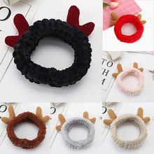 Lovely Coral Velvet Antler Deer Horn Women Hair band Cat Ear Headband Headwrap Makeup Shower Hair Wrap Washing Face Accessories(China)