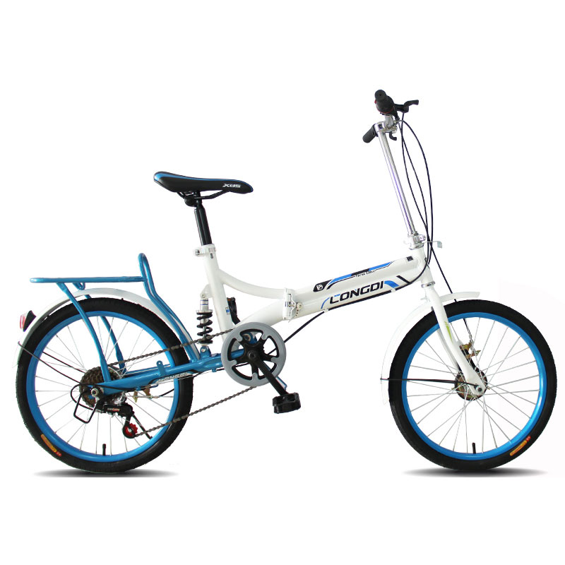 Folding Bicycle 20 Inch 6 Speed Shock Absorption Portable Rear Drum Brake Adult Students Men And Women Small Bike