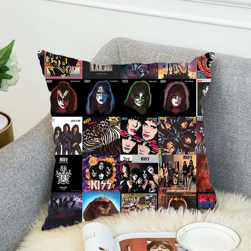 KISS Rock Roll All Nite Party Pillow Case Polyester Decorative Pillowcases Throw Pillow Cover style 1