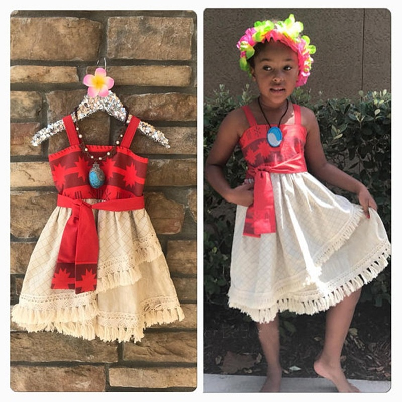 Toddler Girls Princess Moana Costume Vaiana Dress Girl Set Clothes With Necklace Cosplay Halloween Costumes Girls Dress Moana
