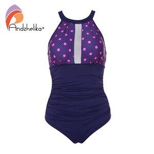 Image 1 - Andzhelika Nữ Đồ Bơi Lưng Giữa Sexy Gợi Cảm Đồ Bơi Một Mảnh Lưới Dot Miếng Dán Cường Lực Đồ Bơi Hở Lưng Bodysuit Áo Tắm Monokini