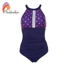 Andzhelika Women Swimsuit Sexy Strapless One Piece Swimsuit Mesh Dot Patchwork Swimwear Backless Bodysuit Bathing Suit Monokini
