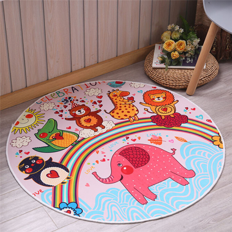 Children Play Mat Round Elephant Seagull Deer Print Crawling Blanket Infant Game Pads Floor Play Carpet Baby Activity Room Decor