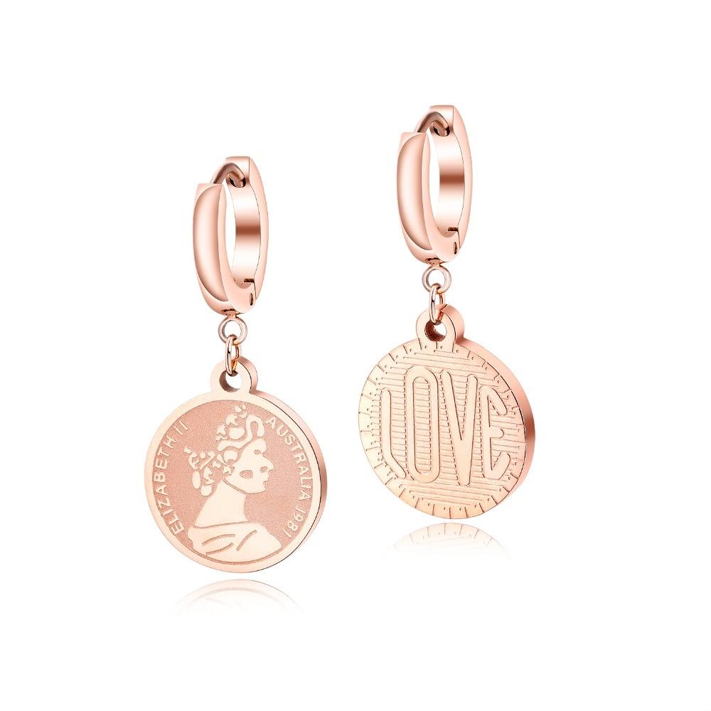 Brand Rvs Rose Gold Oorbellen Voor Vrouwen Retro Creatieve Koningin Elizabeth Coin Stud Oorbellen Voor Nieuwe Jaar Beste Geschenken tif - 6