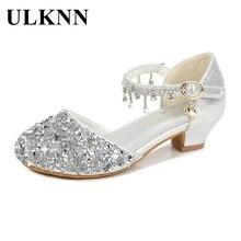 ULKNN Girls Glitter Sandals Children's High Heels Shoes Kids Performance Crystal Sandals Baby Catwalk Princess Children's Shoes