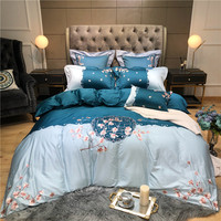 Luxury Chinese Style Flowers Embroidery 60S Egyptian Cotton Bedding Set Queen King Size Duvet Cover Bed Sheet Pillowcases 4pcs