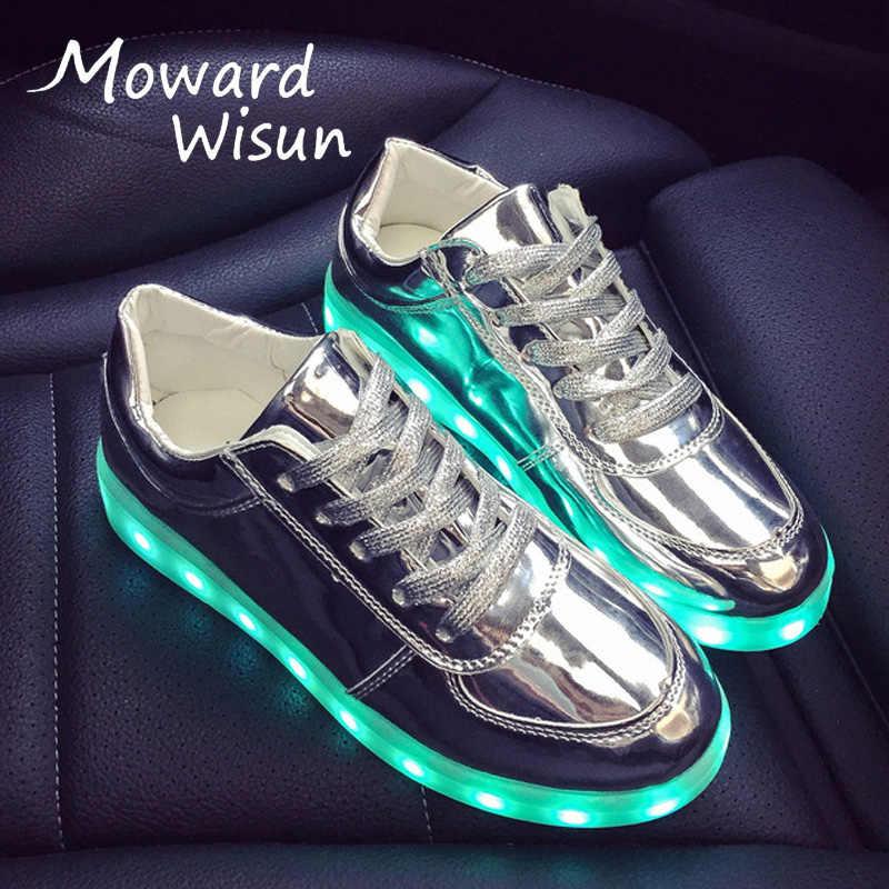 Good แฟชั่น LED รองเท้าส่องสว่างรองเท้าผ้าใบ USB Led รองเท้าแตะเรืองแสงรองเท้าผ้าใบ Light Sole เด็กตะกร้า Tenis Feminino 25