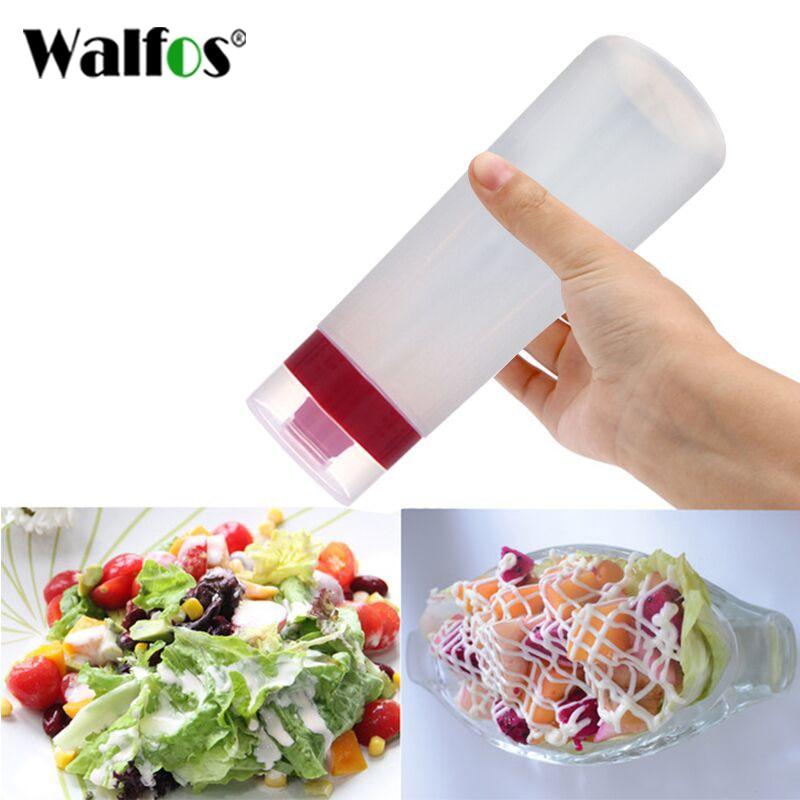 WALFOS 4-Hole Plastic Salad Dressing Squeeze Bottle Condiment Dispenser Ketchup Mustard Kitchen Accessories