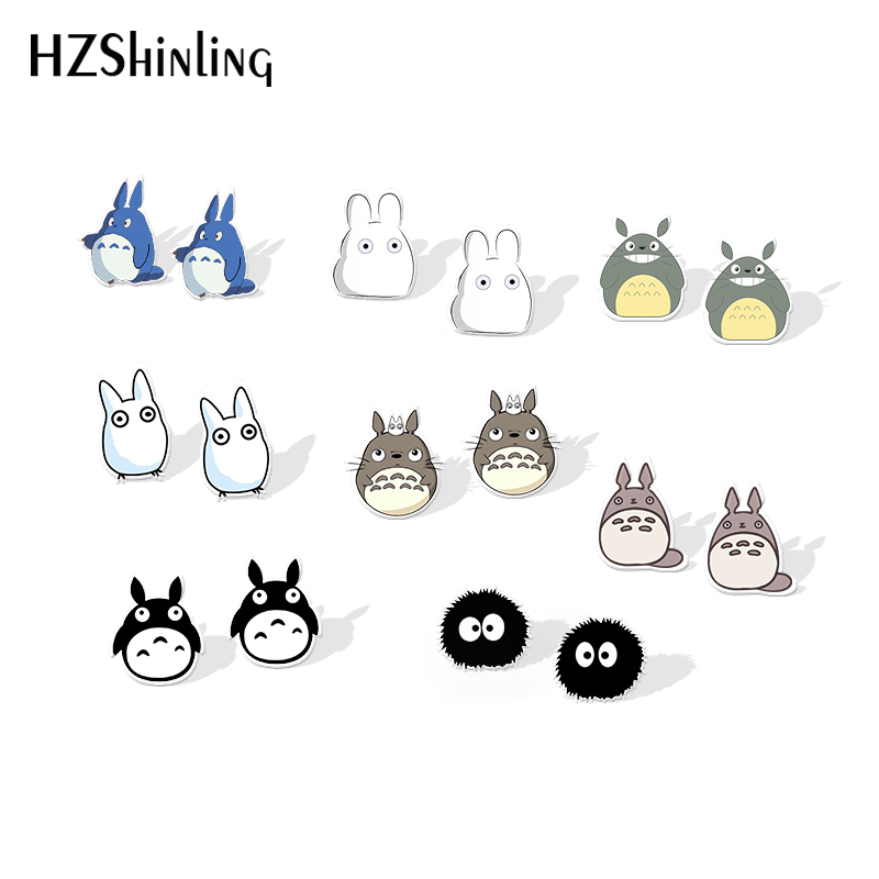 2019 New My Neighbor Totoro Acrylic Earring Cute Totoro Plastic Earring Anime Epoxy Silver Color Resin Earrings