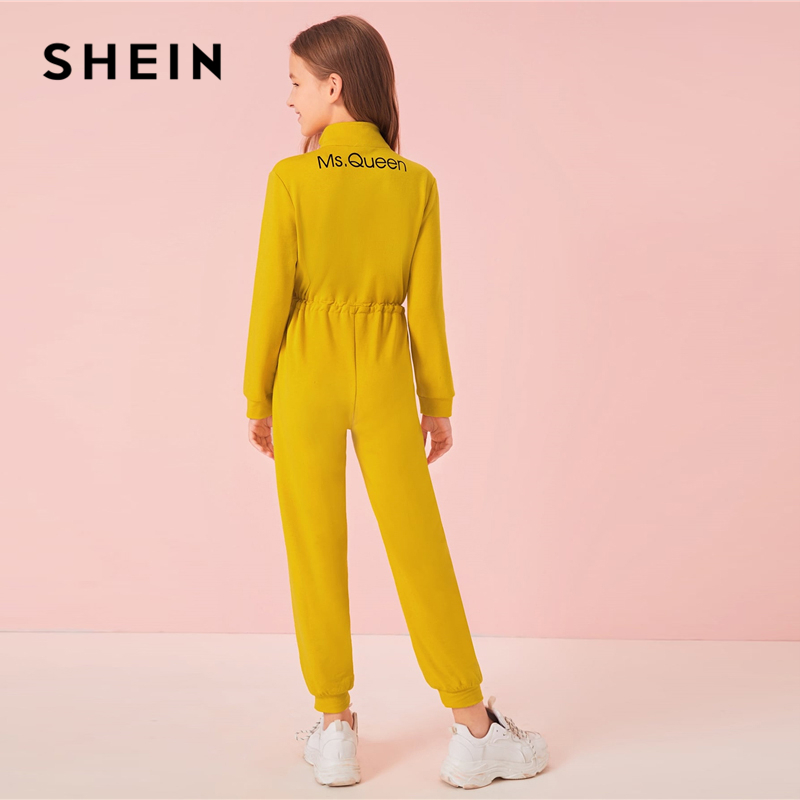 SHEIN Kiddie Yellow Flap Pocket Front Casual Jumpsuit Shein Young Girls Collection