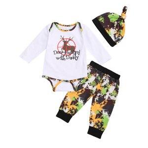 3 sztuk maluch zestaw ubranek dla chłopca dzieci śliczne renifer koszulka z długim rękawem topy Romper spodnie kamuflażowe Chritmas jesień stroje