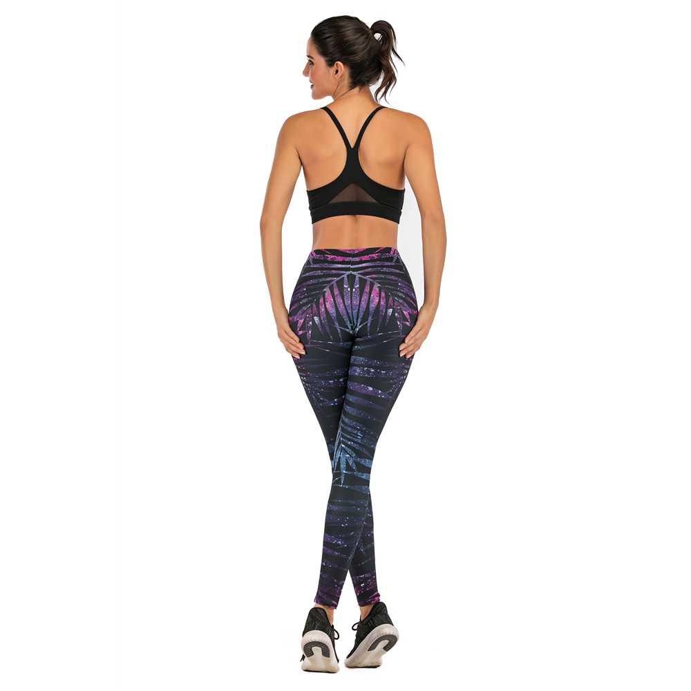 Merek Fashion Wanita Legging Neon Cabang Pohon Printing Leggins Tinggi Ramping Pinggang Wanita Celana