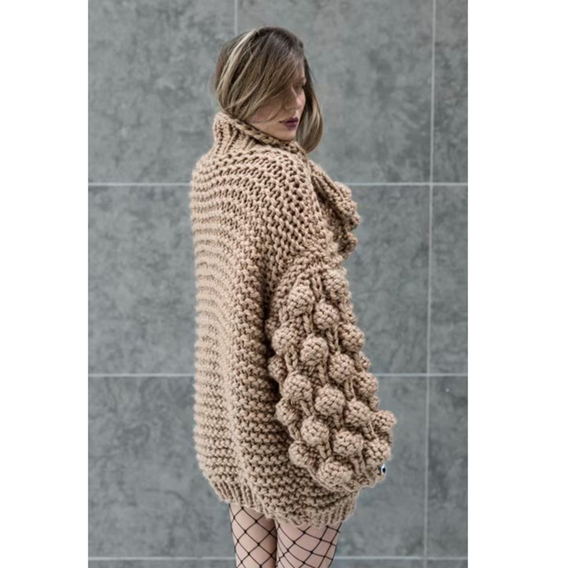 Hand Knitted Chic Handmade Ball Sweater6