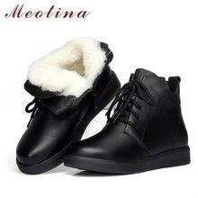Женские ботильоны на платформе meotina зимние черные ботинки