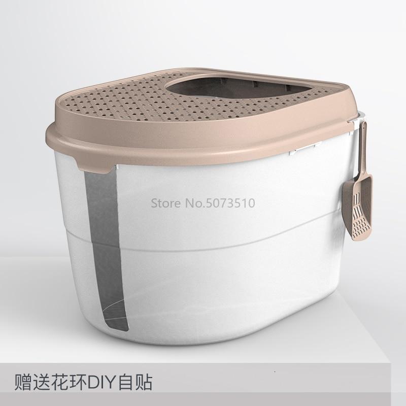 Top-in кошачья песочница полностью закрытый дезодорирующий супер-большой кошачий Туалет с защитой от запаха и брызг - Цвет: Черный