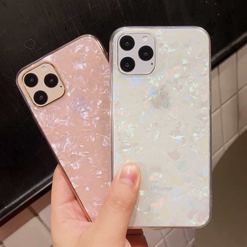 Glitter Shell Patroon Sparkle Bling Crystal Clear Zachte Tpu Case Voor Iphone Se X Xr Xs 11 Pro Max 8 7 6 6 S Plus Siliconen Cover