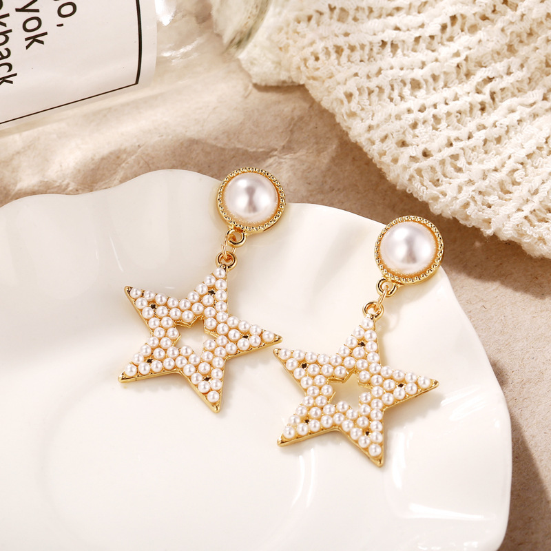 New Style Earrings Creative Retro-Style Geometry Full Pearl Hollow out Five-pointed Star Ear Stud Women's