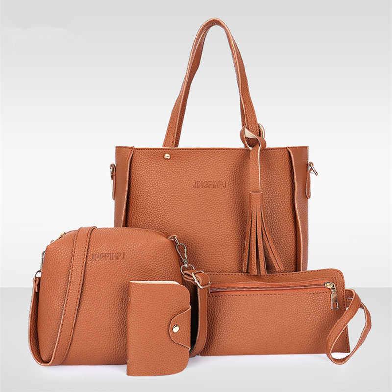 4PCS Handbag Set Women PU Leather Shoulder Bag  Women Capacity Casual Crocodile Shoulder Messenger Bags Composite Bag