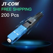200PCS FTTH SC APC single mode fiber optic cold connector Fiber UPC Optical Fast Connector adapter Field Assembly