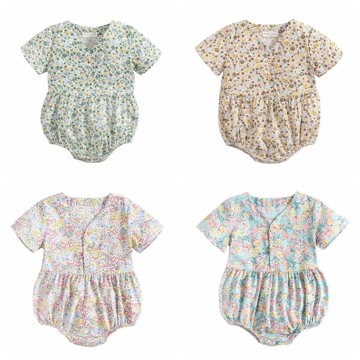 Sanlutoz Newborn Flowers Baby Girls Bodysuits Cotton Baby Bodysuit Short Sleeve Summer Infant Clothing Princess