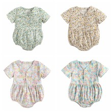 Sanlutoz Newborn Flowers Baby Girls Bodysuits Cotton Baby Bodysuit Short Sleeve Summer Infant Clothing Princess