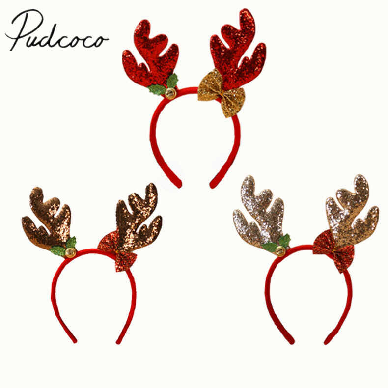 2019 Baby Accessories Christmas Bell Headbands Fancy Dress Reindeer Antlers Santa Xmas Party Kids Adult Photo Props Kids Gifts
