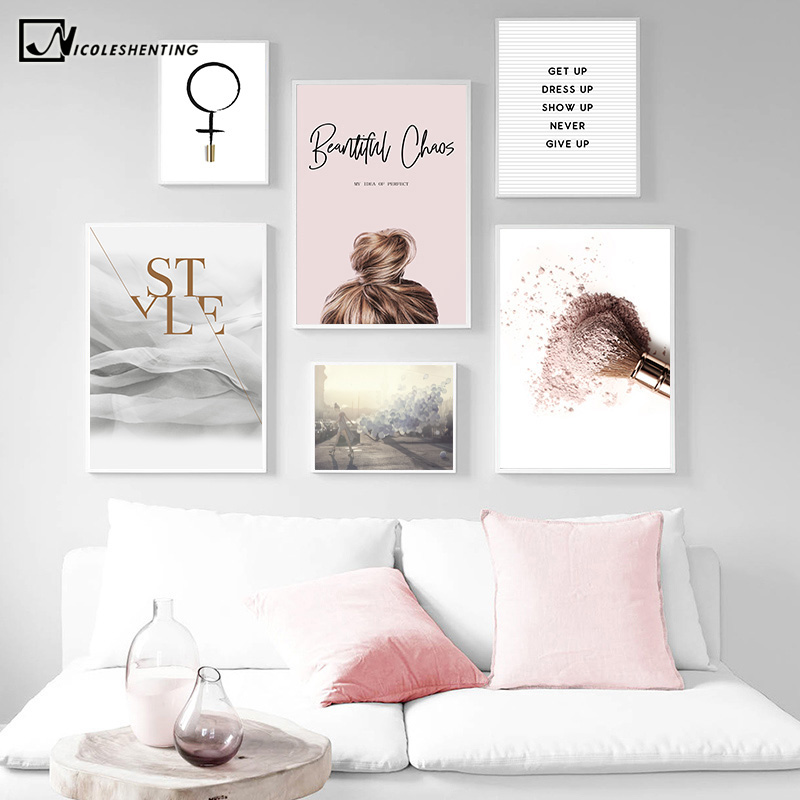 Fashion Quotes Makeup Poster Nordic Minimalist Wall Art Canvas Print Painting Decorative Picture INS Style Girls Room Decoration