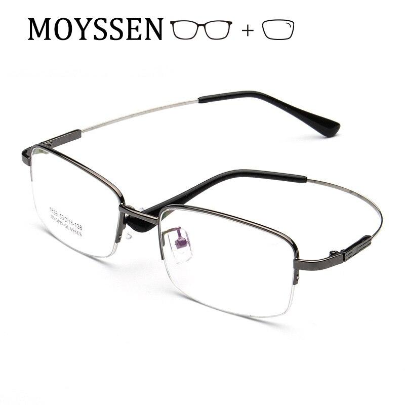Formal Square Light Flexible Titanium Alloy Half Frame Metal Glasses For Business Men Myopia Presbyopia Prescription Eyeglasses