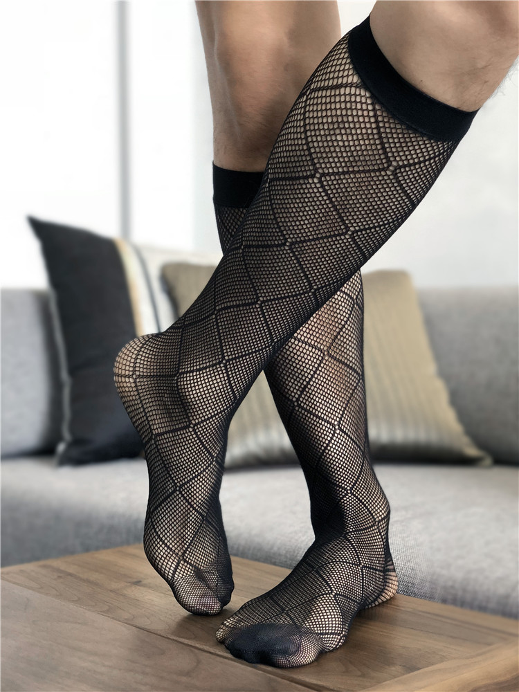 Tube Socks Male Dress Socks For Men Sheer Socks Exotic Formal Wear Suit Men Business Tube Transparent Ultra-thin Fishnet Socks