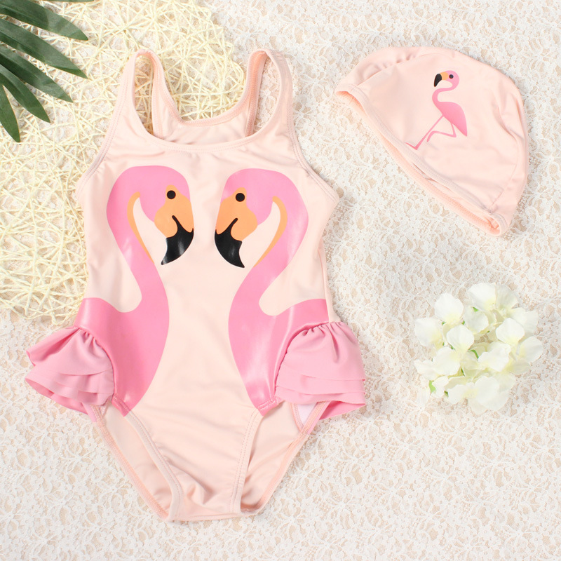 Hot Selling 2017 Summer New Style Black Swan Swimwear Parrot Children Girls Baby One-piece Swimming Suit