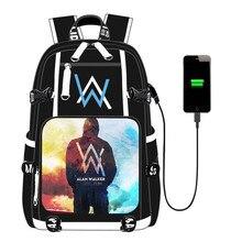 Alan Walker Faded School Bag USB Charging Men Women Backpack Travel Bag Notebook Bag for Teens Students 2020 alan walker bergen