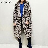 Autumn Winter New Vintage Leopard Print Long Faux Fur Lamb Coat Women Oversized Outwear Thick Warm Teddy Jacket Overcoats Female