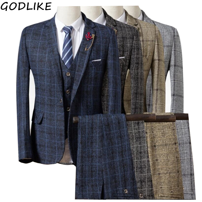 Men Suit 2019 New Mens Checked Suit 3 Pieces Classic Plaid Suits Male Business Wedding Suits Slim Fit Men Tuexdo Party Dress