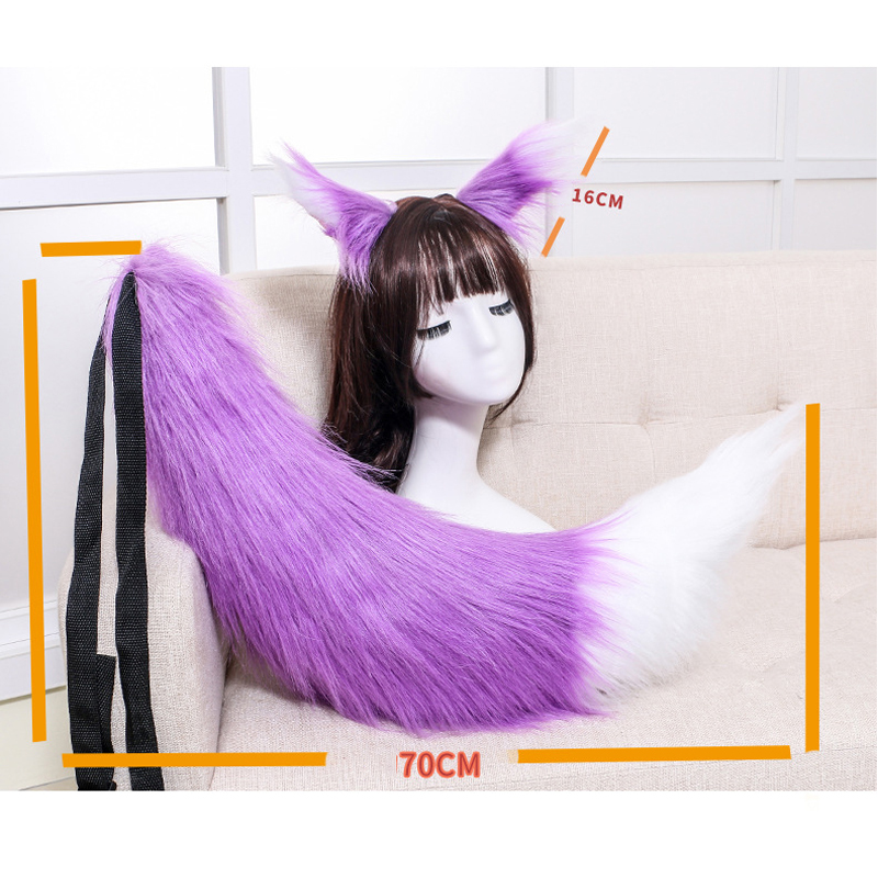 Image 4 - Anime Cosplay Props Spice and Wolf Holo Fox Ears and Tail Set Plush Furry Neko Cat Ears Tails Carnival Party Costume Fancy DressCostume Props   -