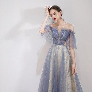 Image 5 - יופי אמילי סקופ שרוולים ערב שמלות 2019 מקסים תחרה למעלה חזור Robe דה Soiree שמפניה ארוך שמלת ערב