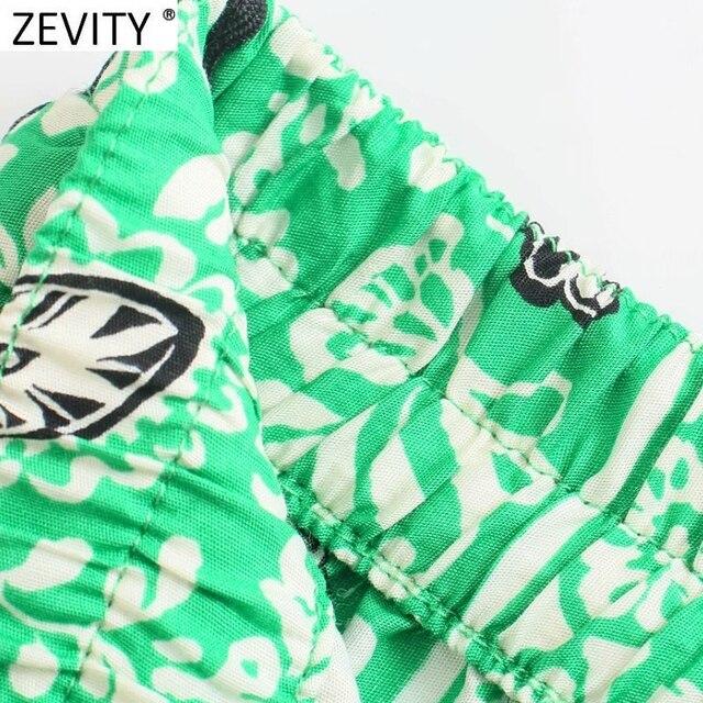 Zevity 2021 Women Vintage Position Flower Print Casual Hot Bermuda Shorts Female Chic Elastic Waist Bow Pantalone Cortos P1140 4