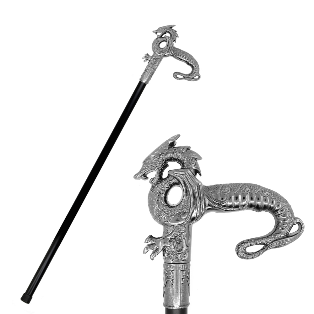Fashion Dragon Walking Stick Men Metal Cane Dragon T Handle Walking Cane Crutch Fashion Walking Canes Canes Crutch For Men 89cm