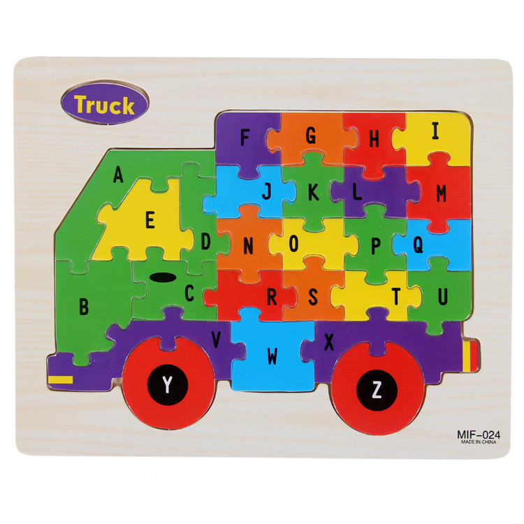 Kids Intelligence Baby Toy Wood Puzzles Cognition English Letter Building Wooden Animal Jigsaw Puzzle Toys for Children Toddler 12