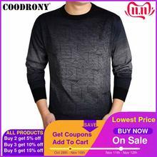 Coodrony suéter de caxemira masculino, gola redonda estampa casual camisa de lã outono 613