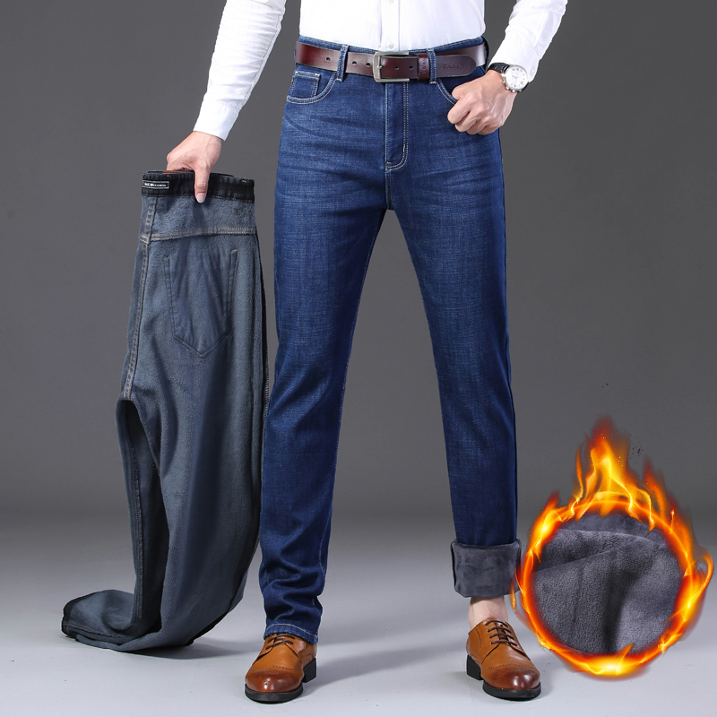 2019 Mens Autumn Winter New Warm Fleece Lined Jeans Stretch  Casual Straight Thick Denim Flannel Jeans Soft Pant TrousersJeans   -