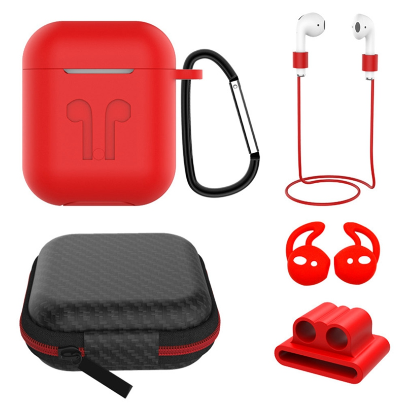 <font><b>5</b></font> <font><b>In</b></font> <font><b>1</b></font> Silicone Earphone <font><b>Cases</b></font> Anti-lost Protect Eartips Cover for <font><b>Airpods</b></font> Air Pods Bluetooth Wireless Headphone Accessories image