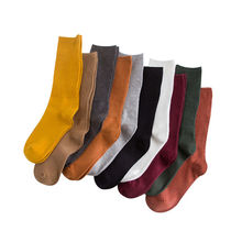 Women's Socks Retro Cotton Solid 1-Pair Middle-Tube Pile Double-Needle Turned