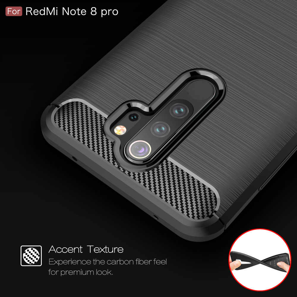 Serat Karbon Coque Cover 6.3For Xiaomi Redmi Note 8 Case untuk Xiaomi Redmi Note 8 Note8 Pro Ponsel Kembali Tritone cover Case