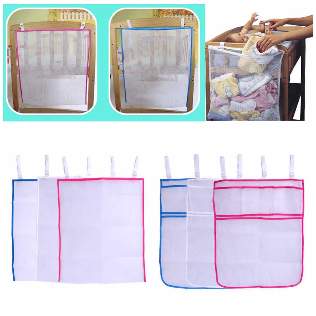 Bolsa de malla para cuna de bebé, bolsa de cabecera para recién nacidos, bolsa organizadora de pañales para niños, contenedor para ropa para niños pequeños